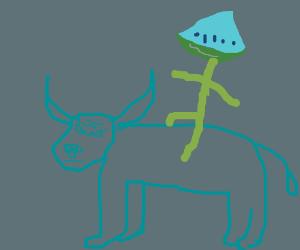 Watermelon head guy rides a bull