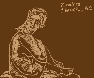 2 colours,  1 brush - P I O