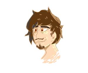Anime man with orange eyes