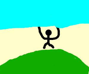 a man on a hill holds up the sky