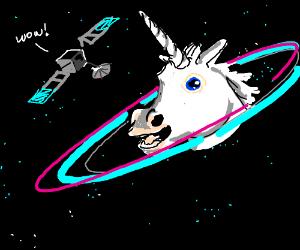 Unicorn head in space