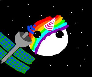 Satellite orbiting the Unicorn planet