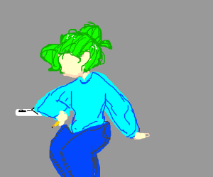 Green haired artist concentrates on a sketch