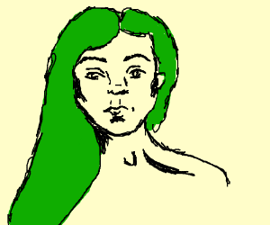 Green haired girl drawing
