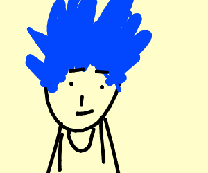 man with blue spiky anime hair drawing by skellydude drawception
