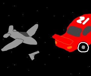 Gun, plane, and racecar floating in space