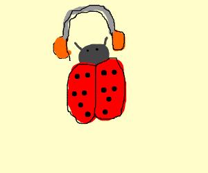 ladybug with headphones
