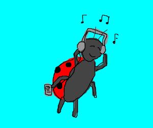 a ladybug wearing headphones