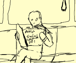 Man reading Avoiding Social Contact magazine