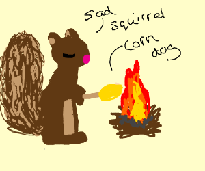 unhappy squirrel tossing corn dog and toast