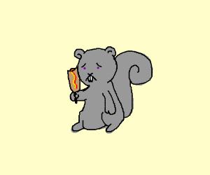 Sad Squirrel eating a Corn Dog