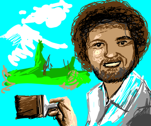 Bob Ross drawing some happy little trees.