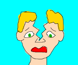 Blonde man with cracked head