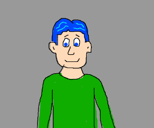 a guy with a blue hair and green shirt