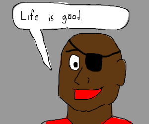 Eyepatched black guy is satisfied with life.