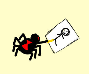 A black spider drawing art