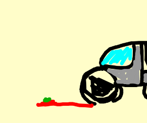 The tomato get smoosh by car