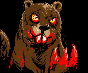 Creepy Beaver with blood dripping