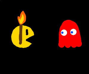 Pacman with a torch