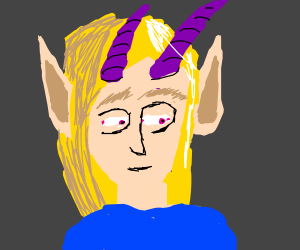 White Elf Girl with purple horns