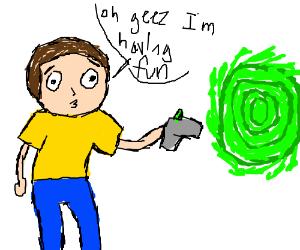 Morty having good time with portal gun