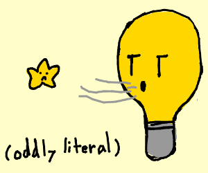 lightbulb blowing a star away