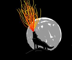 Wolf howling fire