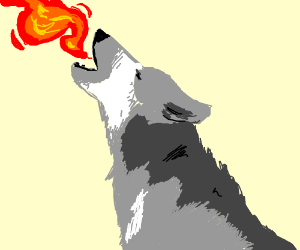 wolf breathes fire