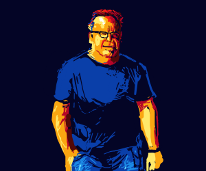 Tom Arnold wearing some sweet bluejeans