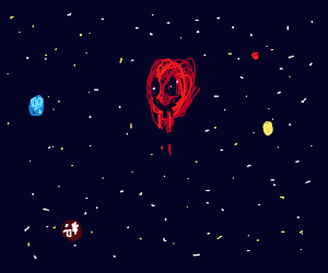 Red creepy face, floating in space