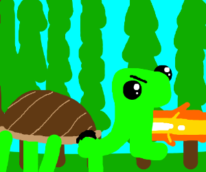 Fire-breathing turtle in the forest