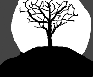 tree on hill silhouetting the moon