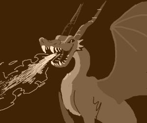 blue fire breathing dragon