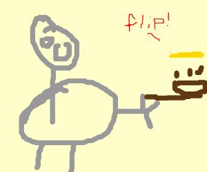 Fat guy tossing a pancake in a frying pan