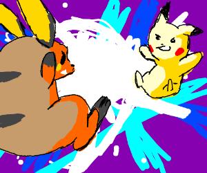 Raichu having an epic duel with Pikachu