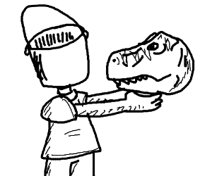 Buckethead holding dino head