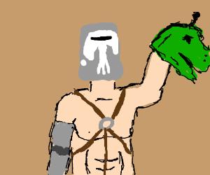 Bucket headed person holds dino head