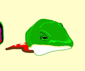 A chopped off lizard head.