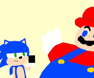 Sonic flips off a super fat Mario