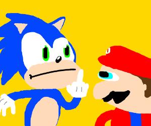 Sonic flips off Mario