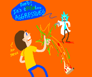 Morty tells Rick that the Pizza is aggressive