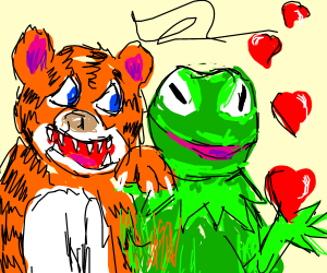 Tiger and Kermit the frog are in love