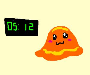 Kawaii slime thingy next to a clock