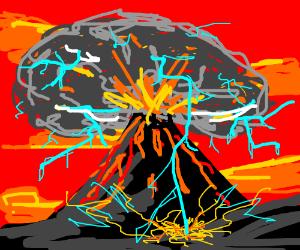 Volcano erupting so hard, lightning