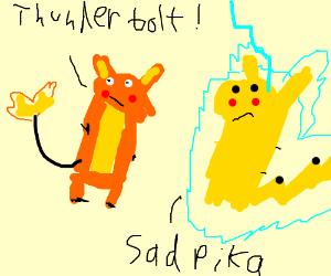 Raichu beats up Pikachu