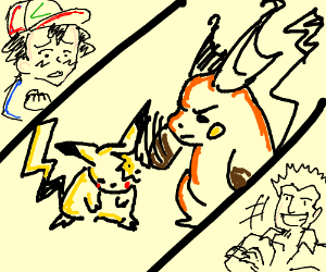Surge's Raichu beats Ash's Pikachu