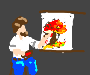 Bob Ross Paints A Happy Little Red Tree