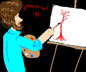 Bob Ross painting red tree