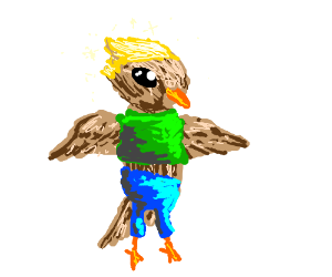 Blonde bird man