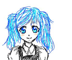 Kawaii anime blue-haired maid